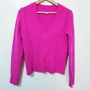 J. Crew Cashmere Wool Hot Pink Sweater Size M